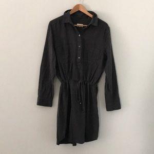 soft cotton long sleeve dress with tie waist